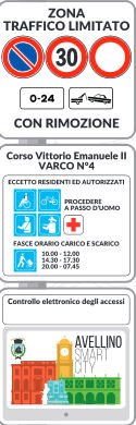 panneau routier Avellino Campanie Italie ZTL