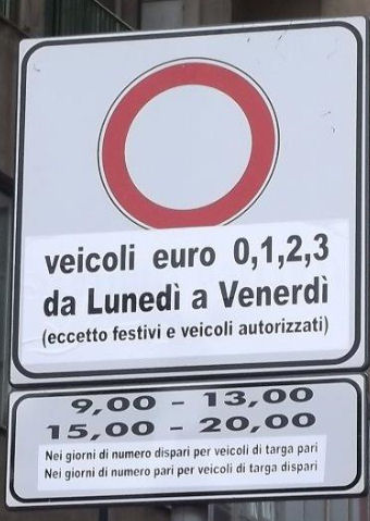 Italy Palermo road sign low emission zone LEZ