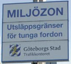 Sverige Miljøzonen Road Sign